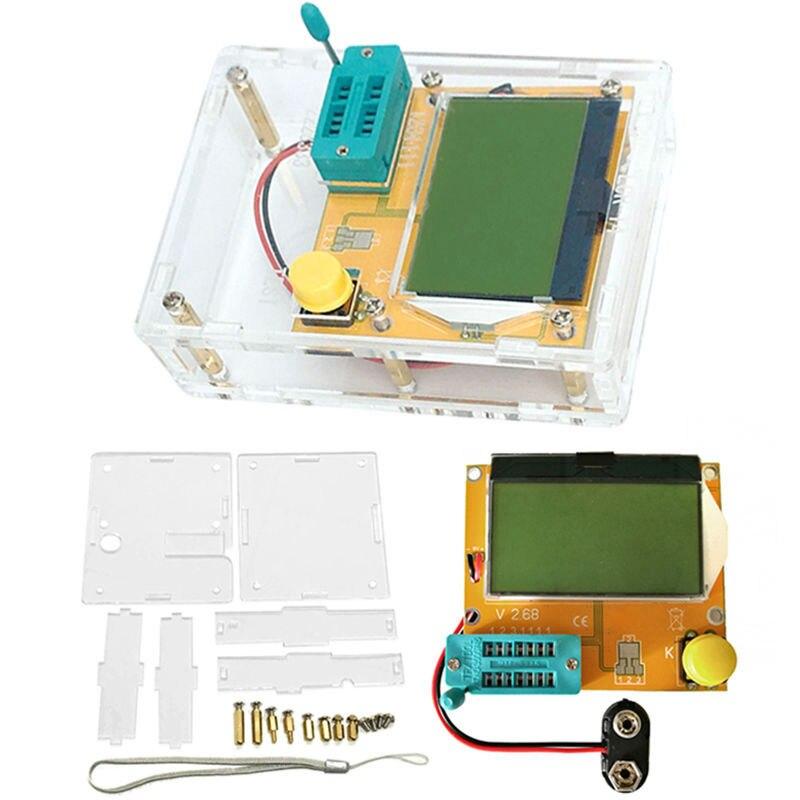 LCR-T4 Mega328 M328 Multimetr Transistor Tester ESR Meter Diode Triode Capacitance ESR Meter MOS PNP NPN LCR+CASE (not Battery)  lcr esr meter mega328 digital combo transistor tester diode triode inductor capacitance resistor mos pnp npn test clip