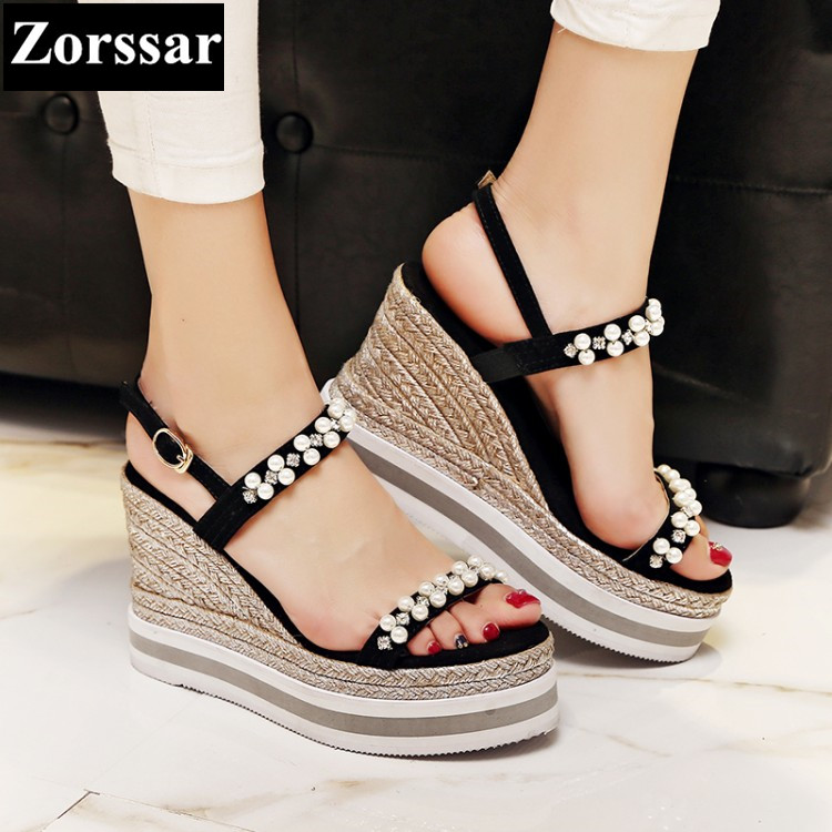 Woman Summer shoes casual wedges platform high heels sandals 2017 Fashion String Bead Kid suede womens peep toe heels pumps plus size 2017 new summer suede women shoes pointed toe high heels sandals woman work shoes fashion flowers womens heels pumps