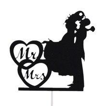 Customised Love Heart Cake Flags Mr & Mrs Wedding Topper Bride Groom Party Baking Decor Engagement