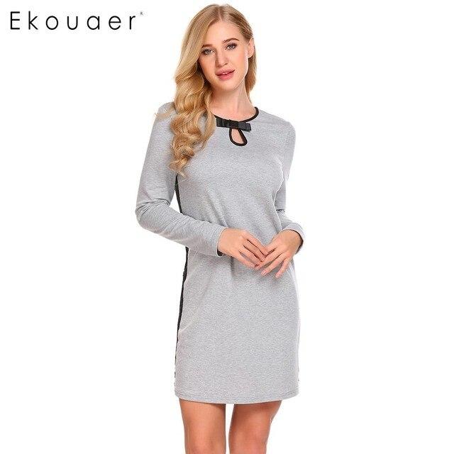 6250ede14d Ekouaer Women Nightgown Sleep Dress Long Sleeve Sleepwear Lace Patchwork  Nightshirt Sexy Nightdress Home Clothing Female Nightie