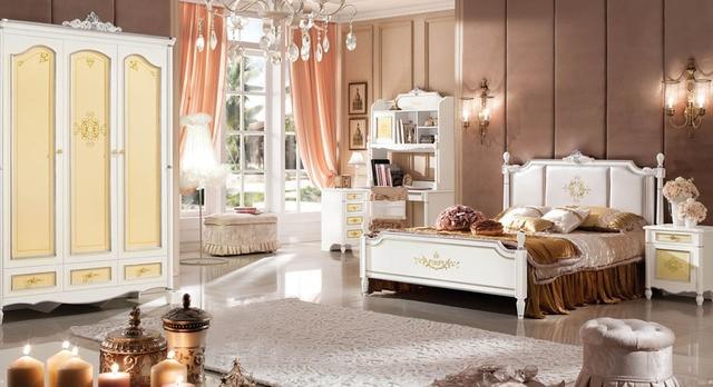 Style baroque reine lit ensemble de chambre des enfants kid