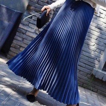 Autumn Fashion Long Pleated Skirt Womens European Style Solid Elegant Midi Elastic Waist Skirt Droppship 10 Colors Freeship 8