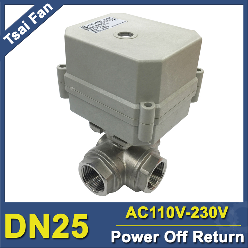 AC110V-230V Power Failure Open/Close Valve 3 Way SS304 DN25 BSP/NPT 1'' Solenoid Valve For Water Control CE/IP67 11 4 time control electric valve full port ac110v 230v bsp npt thread timer valve for irrigation