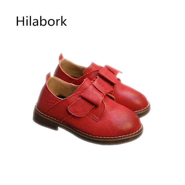 2017 spring boys girls leather shoes leather wear durable anti-skid college wind fashion single flat soft leather casual shoes