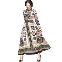 Elegant Woman Runway Maxi Dress Long Sleeve 2018 Autumn Dress Shirt Women Party Print Circle Angel Wagon Horses Long Dresses