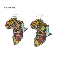 Laser Cut Natural Wood Painting Africa Map Geometric Black Queen Earrings Vintage Silver Wooden DIY African Club Party Jewelry