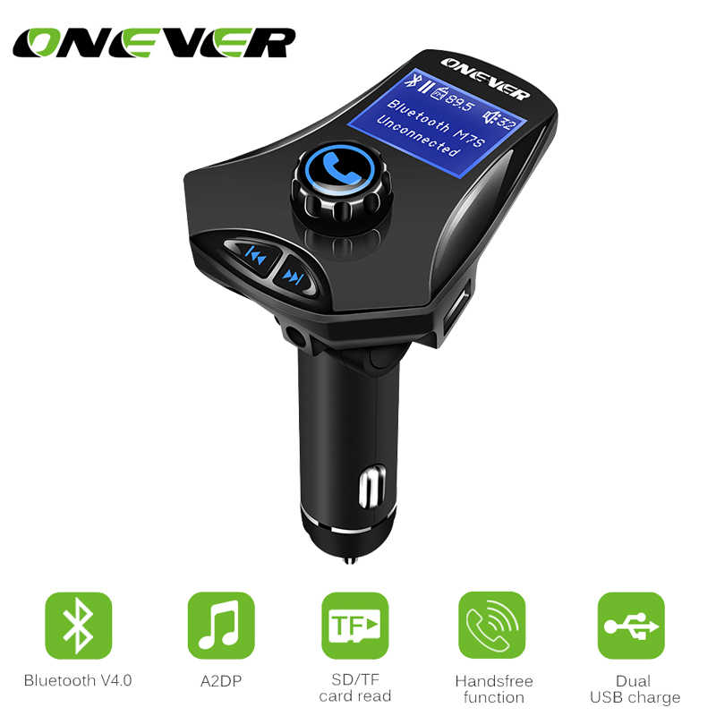 ONEVER Multifunction Bluetooth Car FM Transmitter Modulato MP3 Player Support U Disk/TF Card 2.1A AUX IN/OUT Dual USB Charger