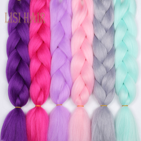 LISI HAIR 24 Inch Braiding Hair Extensions Jumbo Crochet Braids Synthetic Hair style 100g/Pc Pure Blonde Pink Green Pakistan