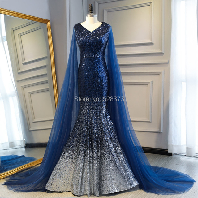 YNQNFS IED14 Ombre Bling Sequins Elegant Mermaid Formal Women Dresses  Evening Party Navy Blue Real Photos f3e4c6aad18d