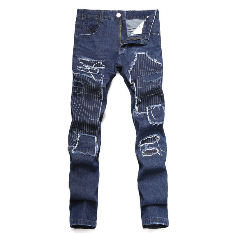 2018 new mens broken hole embroidery stitching straight tube waist jeans personality slim black blue mens wear denim pants.