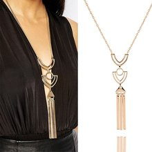 1 pcs Newest Brand Retro Long Necklace Gold Sweater Chain Geometric Metal Tassel Pendant bisuteria mujer(China)
