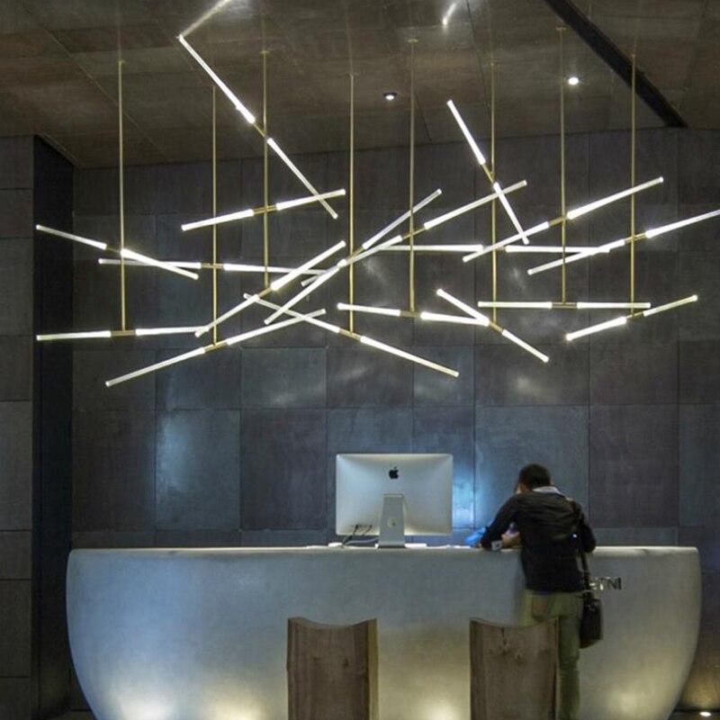 Post Modern Long Tube Branch LED Pendant Lamp Light, Office Bar Track Lamp Restaurant Showroom Shop Display Light