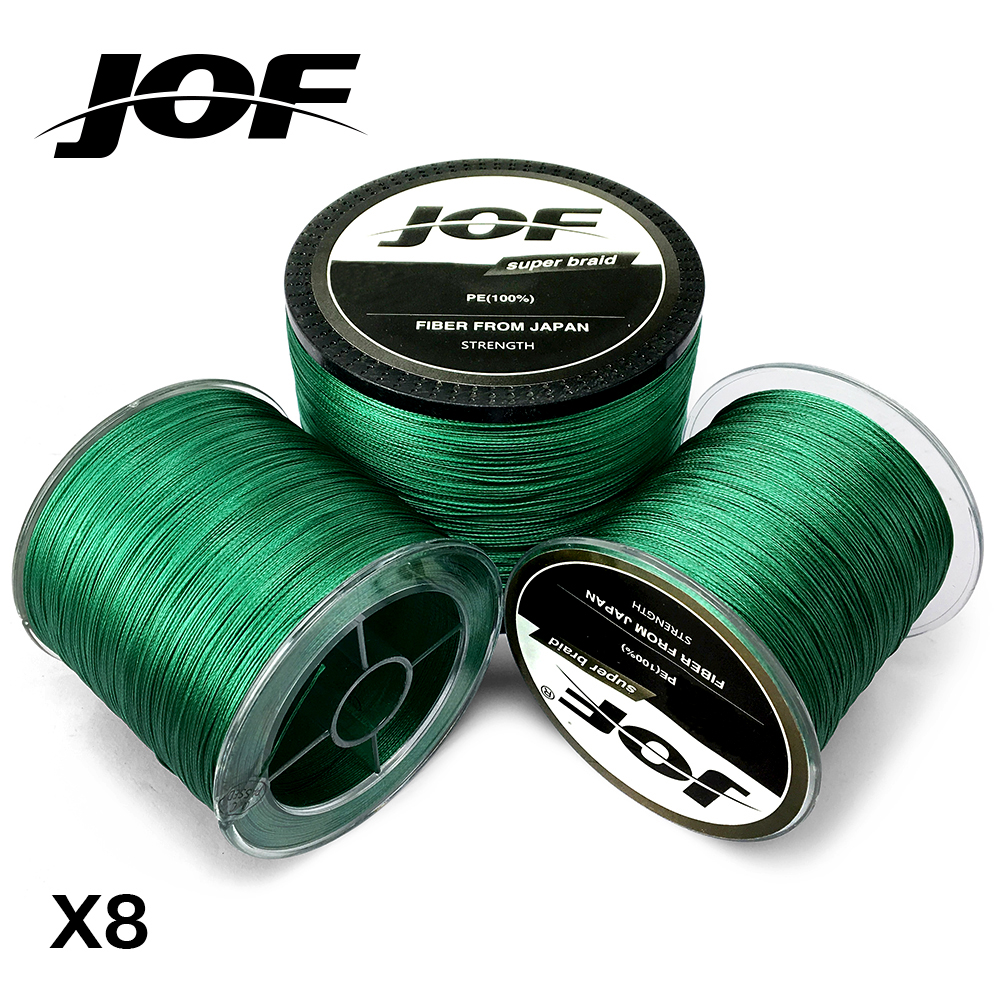 JOF Braided Fishing Line Sea Saltwater Fishing 8 Strands Green 100M 150M 300M 500M 1000M 100% PE new gevlochten draad braided fishing line wire 8 strands 1000m pe 100