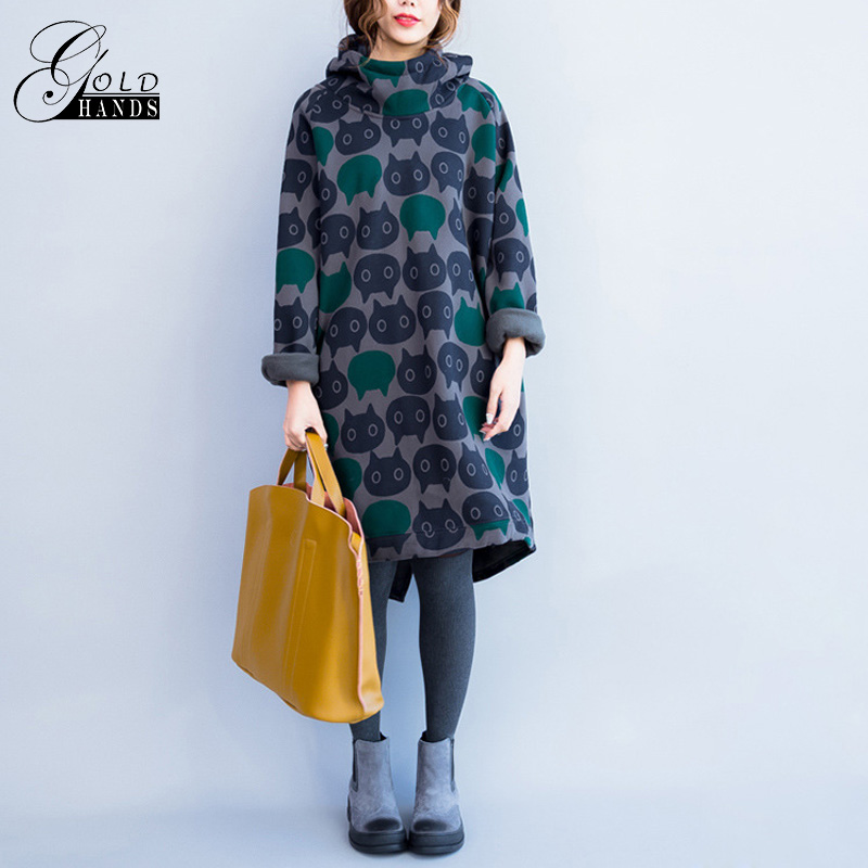 Gold Hands Women Hoodies Sweatshirts Winter Thickening Warm Cotton Fashion Female Cat Print Long Casual Hooded Printing Dresses