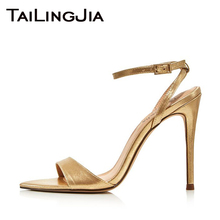 Brand Gold Woman Sandals Women Summer Shoes High Heel Ladies Shoes Party Wedding Dress Shoes Ankle Strappy Buckle Sandals 2019 newest hot summer tassel fringe suede leather ankle strappy cover heel back zipper women sandals party high heels shoes woman