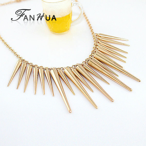 Steampunk Pendant Necklace Gold-Color Silver Color Chain Spike Maxi Statement Necklaces & Pendants For Women Jewelry