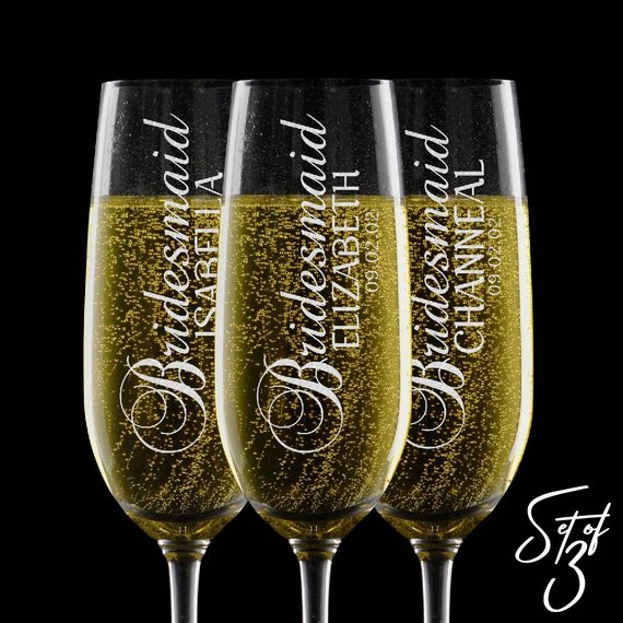 Personalized Bridesmaid Gifts Wedding Champagne Flutes Glasses