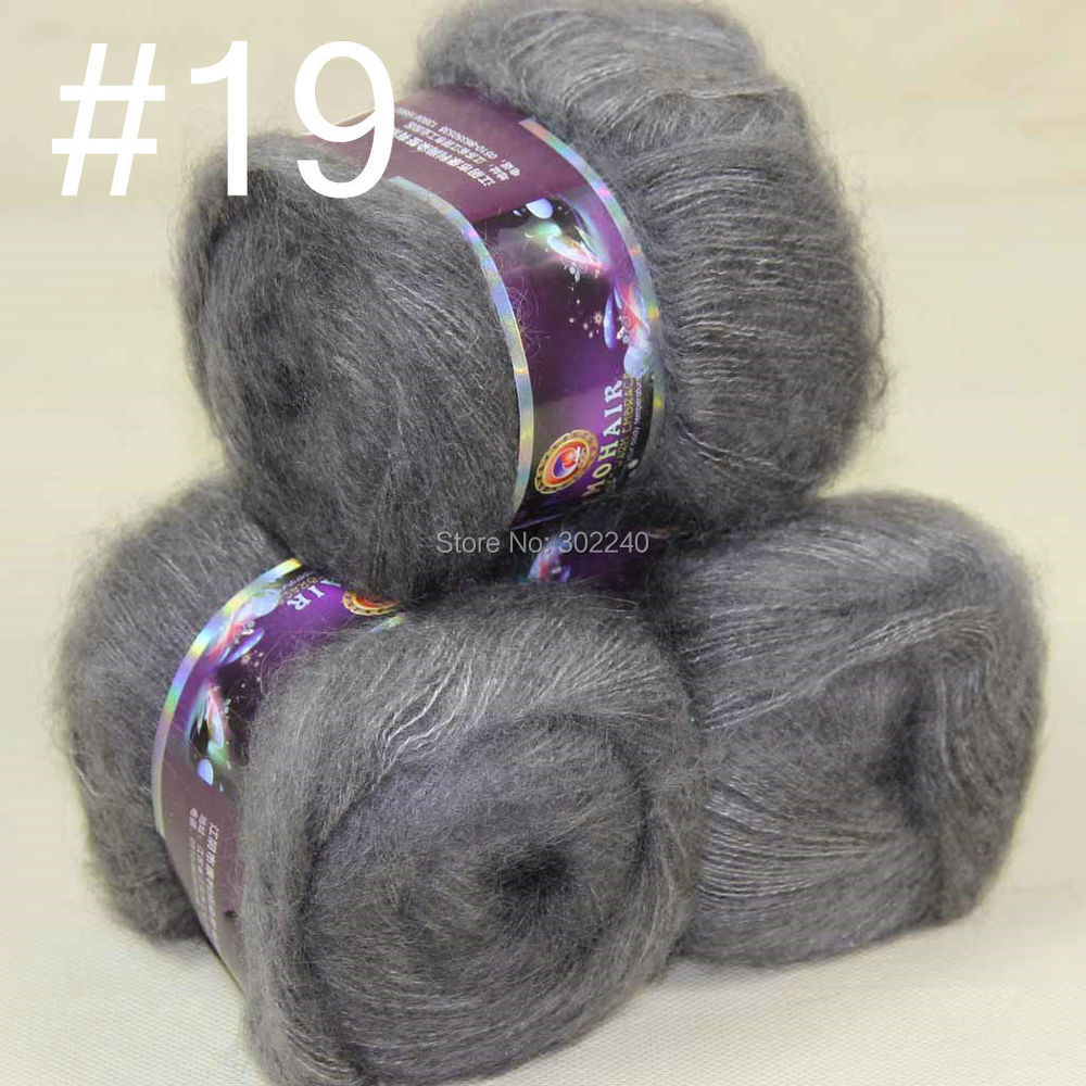 Lot of 3 balls MOHAIR 50% Angora goats Cashmere 50% silk hand Yarn Knitting slate gray #19
