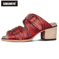 SIMLOVEYO Women's slipper Summer shoes Slip on Buckle Crocodile pattern Square heel Peep toe Casual Outside Big size 34 50 B1239