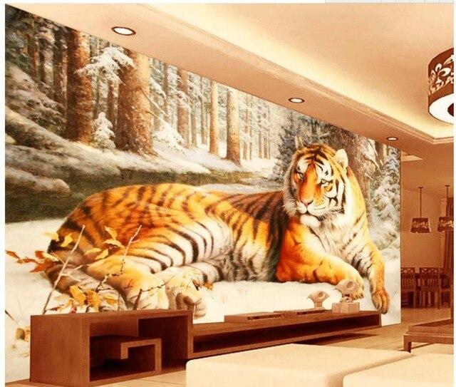 Dekoration 3d Angepasst Tapete Sibirischer Tiger 3d Wandbilder Wallpaper  Für Wohnzimmer Foto Wandbilder Wallpaper