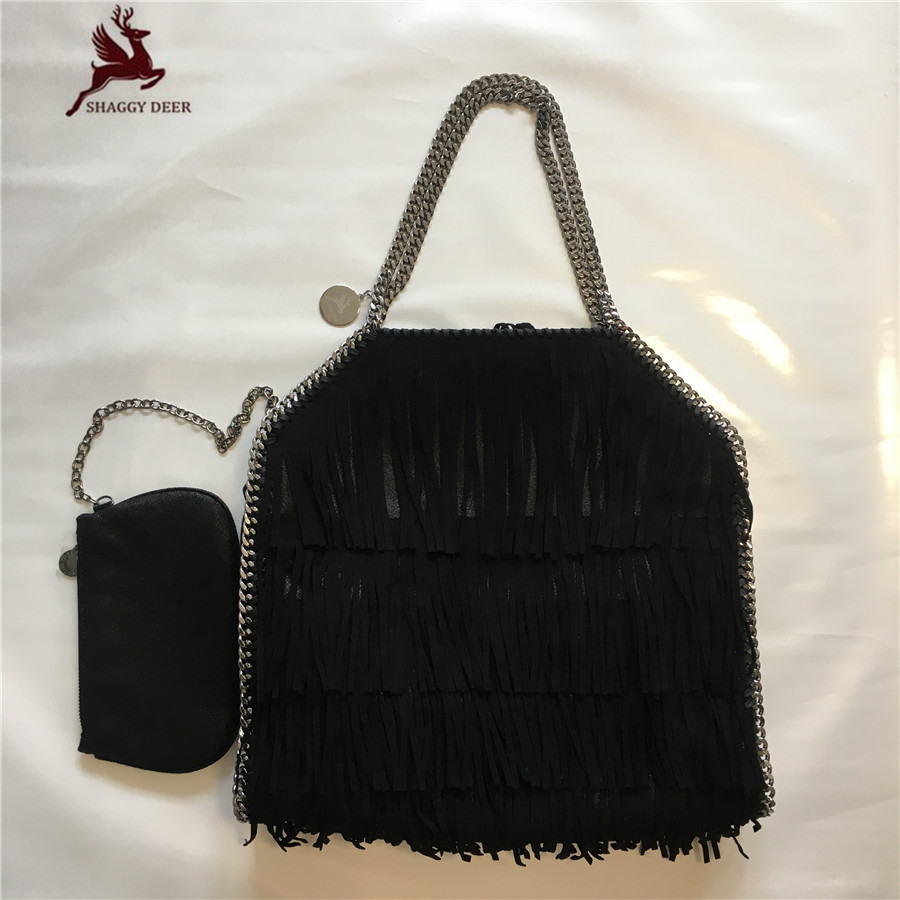 Exclusive Shaggy Deer Designed High End PVC Fuax Leather Tassel Chain Bag Large Size 2 Chain Lady Shopping Tote Best Quality