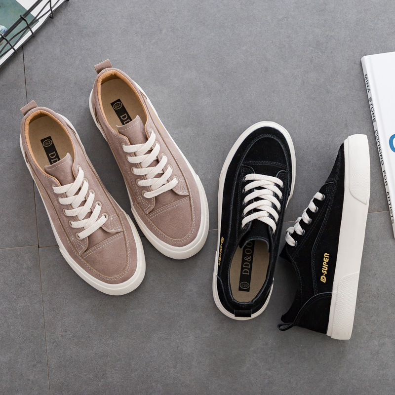 Woman Shoes New Fashion Casual Suede Leather Shoes Women Casual Breathable Color Classic Black Ladies Shoes women's Sneakers 2