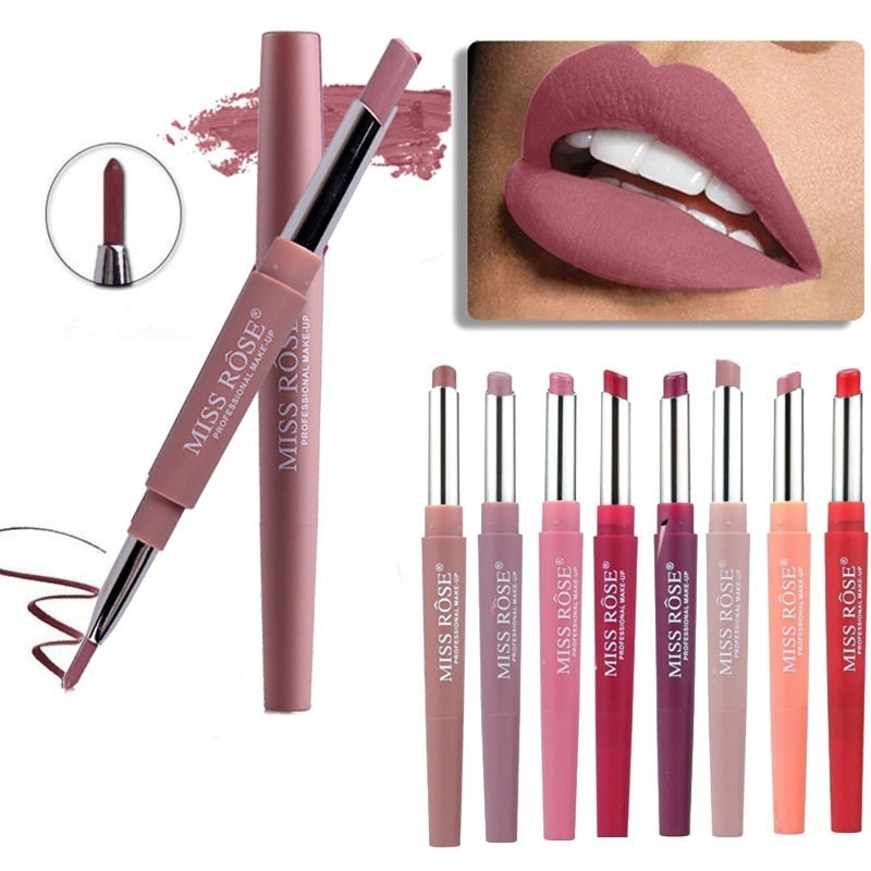 Pintalabios de maquillaje de labios de doble extremo de 14 colores a prueba de agua de larga duración pluma lápiz labial