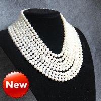 Colar e pulseira 7 - 8 mm branco longo Multilayer pingente mulheres charme gargantilha cadeia de jóias de água doce