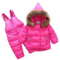 Angela&Alex Children Winter Down Coat Girls Kids Warm Coat Clothing Set Top Parka + Pants Real Fur Hooded High Quality 1 4 year