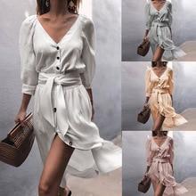 Sexy linen tunic shirt dress women summer 2019 fashion v neck sexy midi vestidos white beach party night wrap vintage clothes