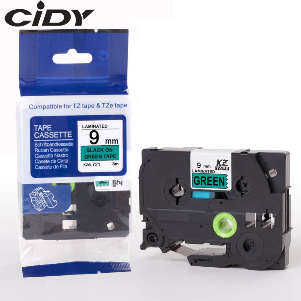 Cidy 50pcs compatible P-touch label tape tz721 tze721 tze 721 tz 721 Black on Green for brother label printers