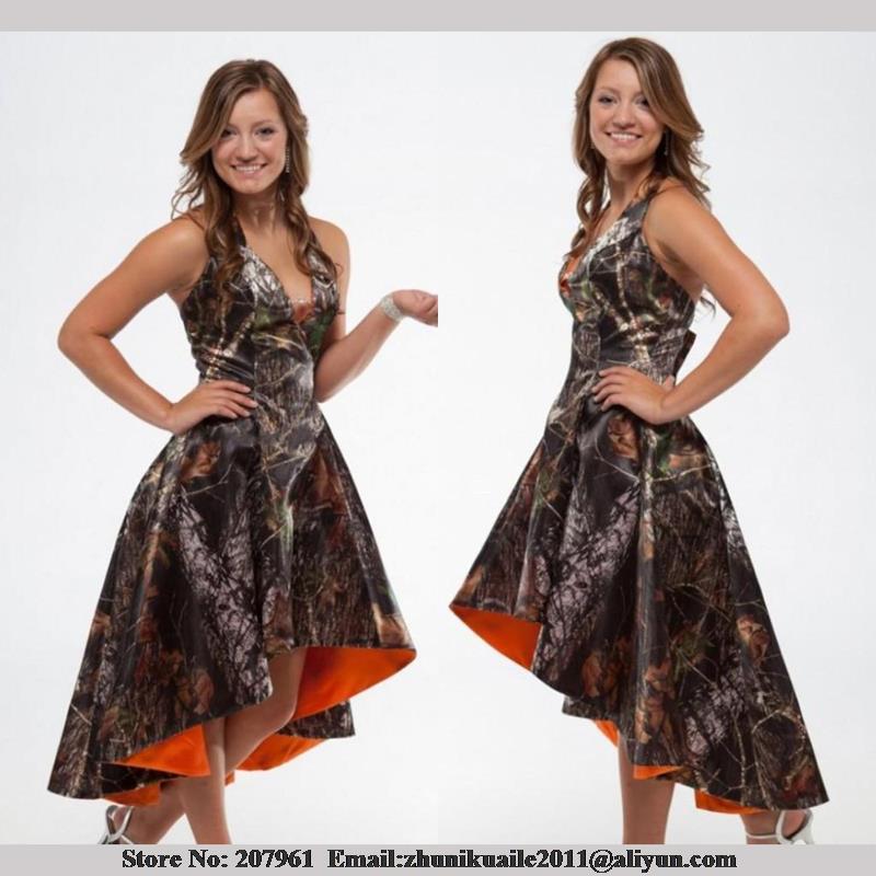 Orange Camo Bridesmaid Dresses 2016 Halter Hi Lo Wedding Short Front Long Back Camouflage Custom Made In From Weddings