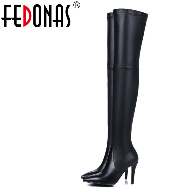 FEDONAS 1Fashion Women Over The Knee Boots Genuine Leather Autumn Winter Warm High Heels Shoes Woman Quality Party Dancing ShoesFEDONAS 1Fashion Women Over The Knee Boots Genuine Leather Autumn Winter Warm High Heels Shoes Woman Quality Party Dancing Shoes