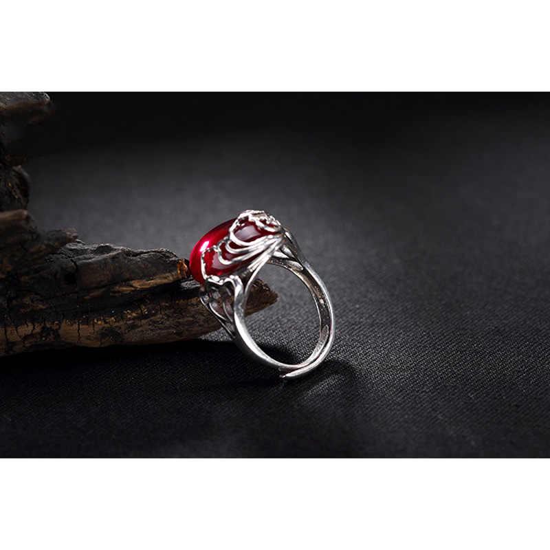แท้ 925 ทับทิมแหวนสตรีเครื่องประดับ Hollow ออกแบบปลาธรรมชาติอัญมณี Elegant Fine เครื่องประดับ Anillo Compromiso