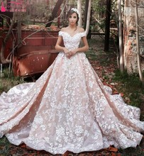 Vestido de noiva Off The Shoulder V Neck Wedding Dresses Lace Appliques Pink ChampagneTrain Bridal Gown robe de mariage