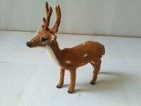 Simulation Sika Deer 15x16cm Model Polyethylene Real Furs Antlers Deer Handicraft Figurines Prop Home Decoration Toy