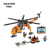 Orange Arctic Helicrane CITY Set Helicopter Figure bricks Husky compatible building block toys for Children цена