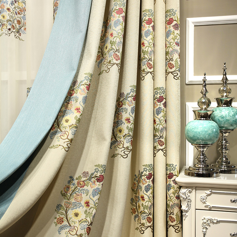 Countryside Pastoral Cotton Linen Embroidered Curtains Blind Drapes Comfy Panel