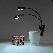 Светодиодный настольная лампа двойные рычаги 2 светодиодный с гибким книжный лист пюпитр лампа для чтения студент лампа для общежития с зажимом