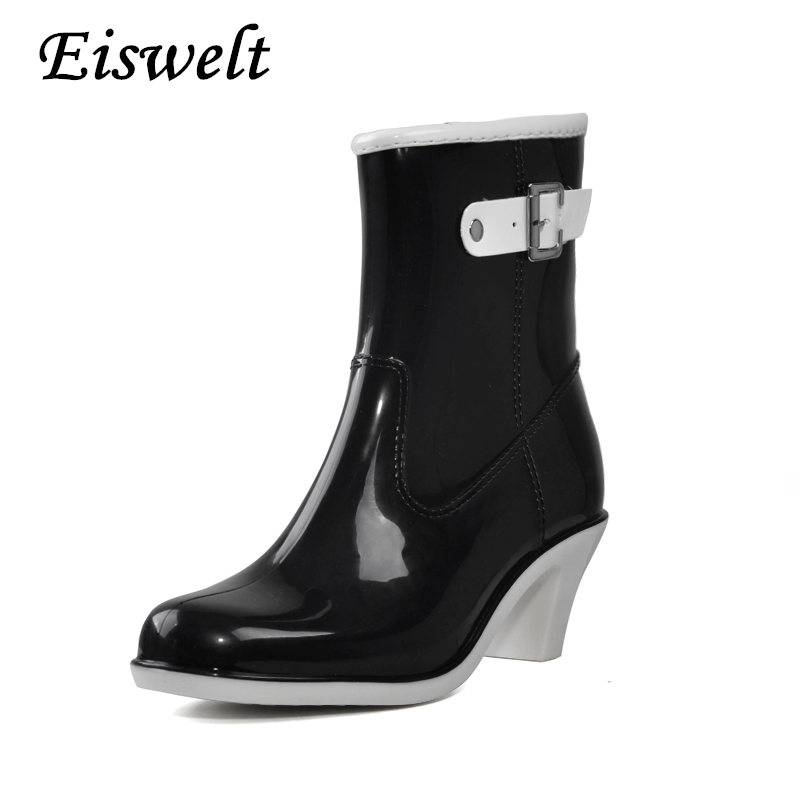 Buckle Design Woman Rainning Shoes Mid-calf Women RainBoots Fashion Rubber Waterproof Thick Heel Boots #HDS168 casual women s mid calf boots with metallic buckle and suede design
