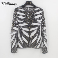 Willstage Embroidery Sequined Blouses Women Shirts Beading Sexy Hollow out Mesh Tops New Spring Party Tops Sequins Blouse 2018