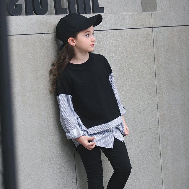 2016 Otoño Adolescente Niñas Sudaderas Con Capucha Negro Blanco Patchwork Deporte Diseño de Moda ropa Tops para Age56789 10 11 12 13 14 T Años de Edad