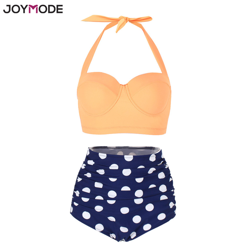 JOYMODE High Waist Bikini Set Retro Polka Dot Underwire Push Up Halter Neck Swimsuit Plus Size 3XL Vintage Beach Women Swimwear цена 2017
