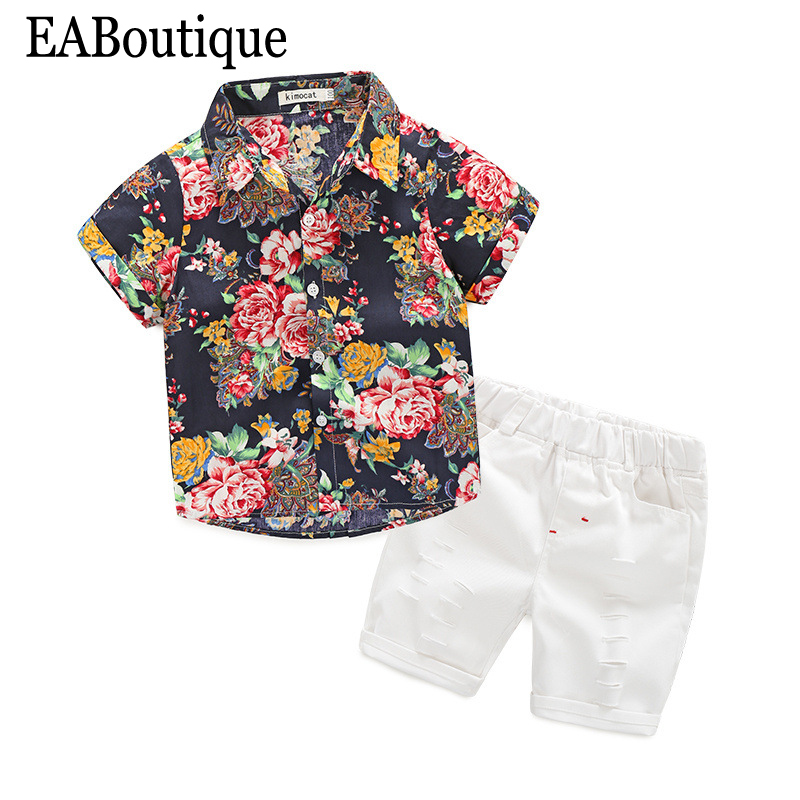 EABoutique 2017 Summer Beach fashion boys clothes flower printed shirt with jean short  2 piece outfit