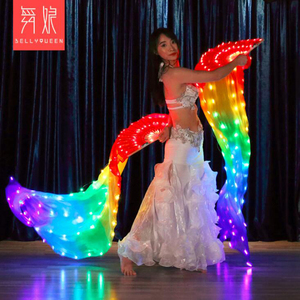 Image 3 - 2019 New Belly Dance LED lights Silk Fan Veils colorful Rainbow Stage Performance Props LED Fan Veil for Oriental Dancing Fans