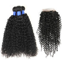 Brazilian Curly Hair With Closure 3 Bundles With Closure Brazilian Hair With Closure HuangCai Human Hair