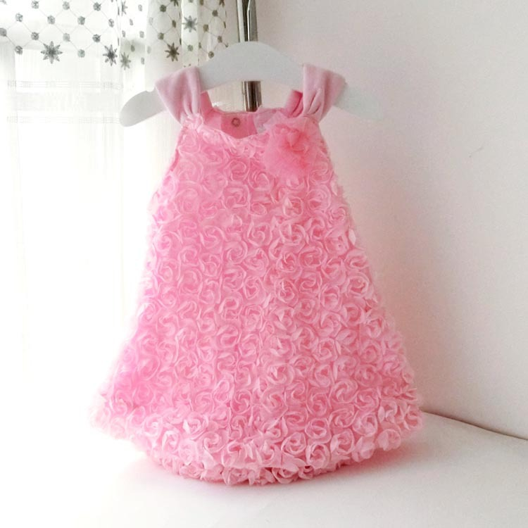 Fashion Summer Style Baby Girl Dress Toddler Kids Girl Rosette Flowers Dresses Sleeveless Suspender Dress Baby