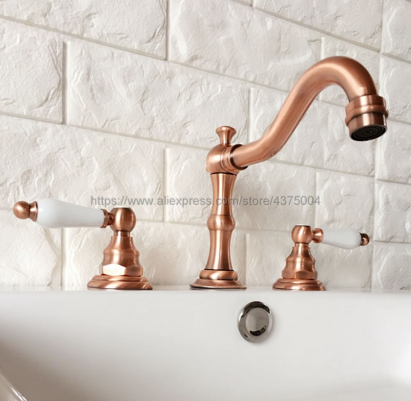 цена Bathroom Antique Red Copper Mixer Faucet Two Handles 3 Hole Basin Sink Hot Cold Water Taps Nrg040