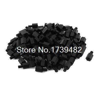 M4 8+6mm Male Female Thread Nylon Hex Standoff Spacer Screws PCB Pillar 100pcs m3 spacer hex standoff pcb hex nuts nylon black pillar female to female