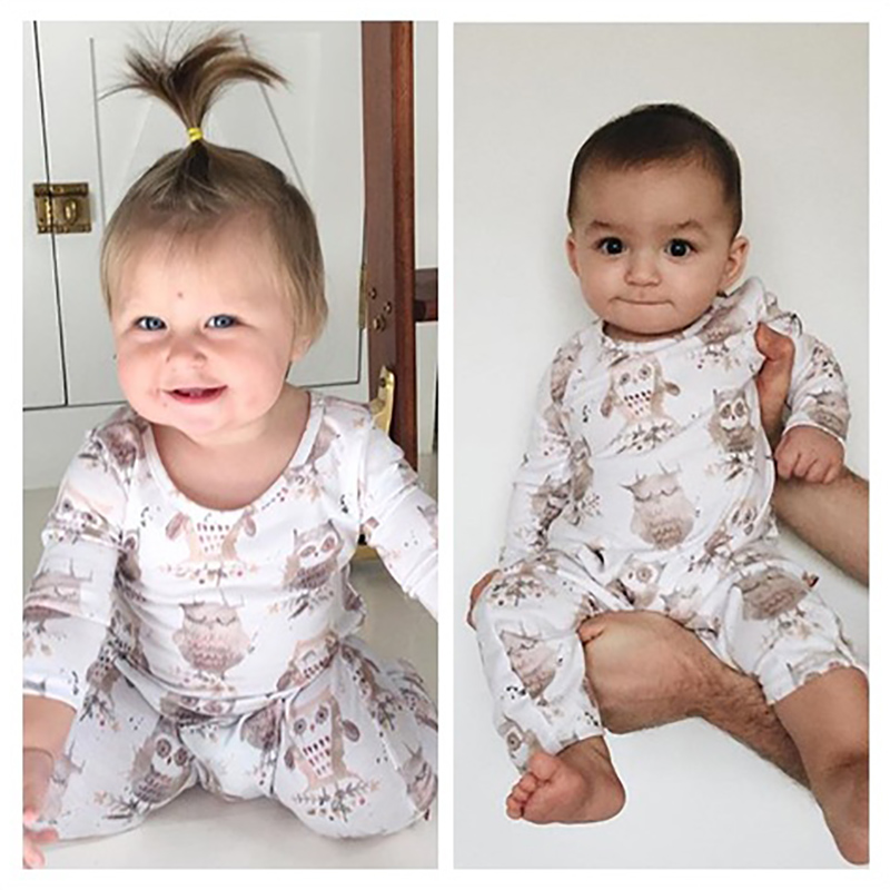 2018 Winter Owl Printed Baby Romper Tiny Cottons Autumn Long Sleeve Jumpsuit Infant Clothing Onesie Costume 0-18m